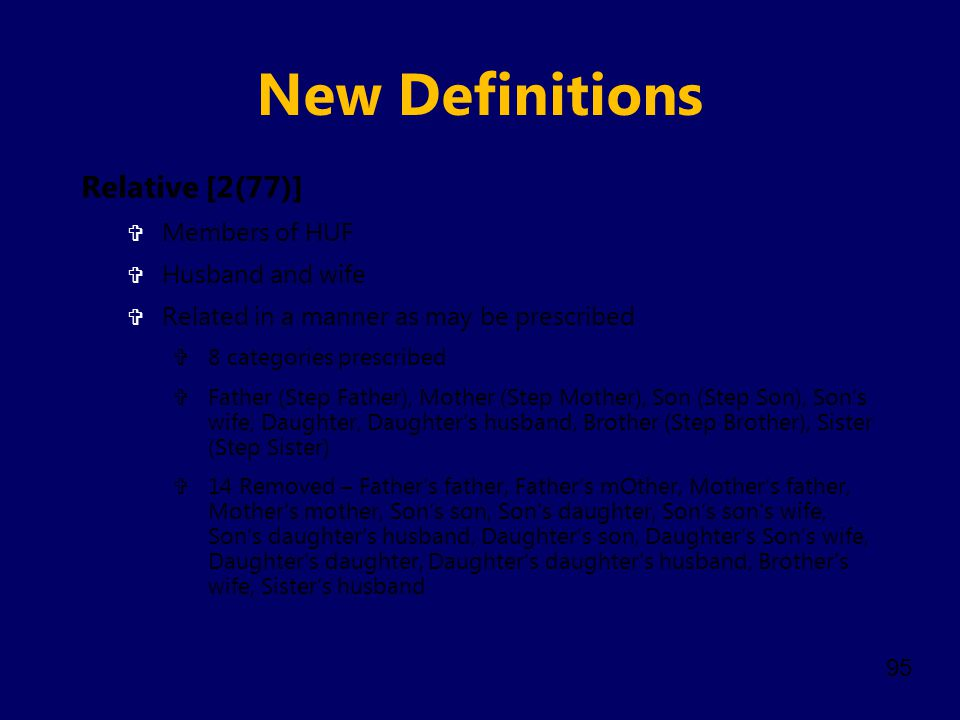 New Definitions Relative [2(77)] Members of HUF Husband and wife